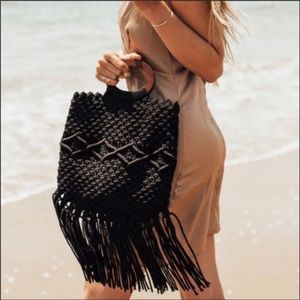 NWT Danielle Nicole Boho Fringe Bag w/ wood handle